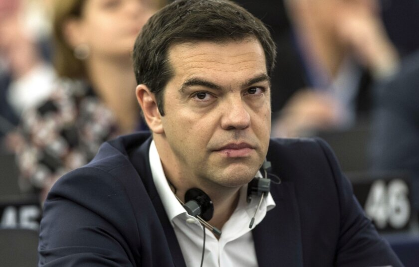 Greek Prime Minister Alexis Tsipras attends the European Parliament in Strasbourg, France, on July 8.