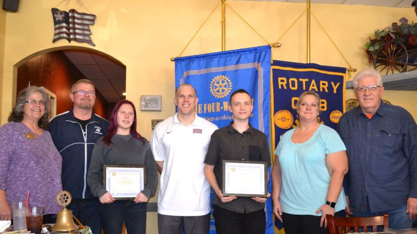 From left: Rotary president Kim Lasley, Ramona High School teacher Dan Marshall and student Ellorie Hargrove, Mountain Valley Academy teacher Dwayne Guile and student Andrew Russell, and Rotarians Amber Ramirez and Bob Murray.