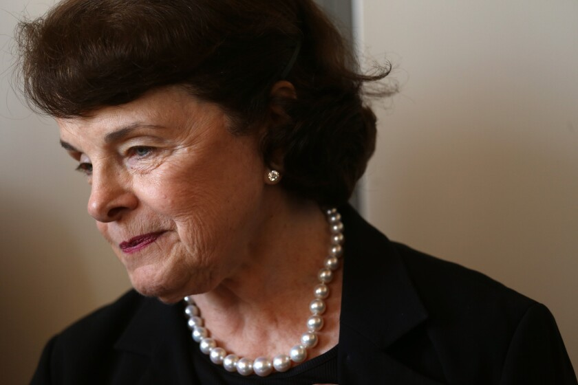 Senator Dianne Feinstein (D-Calif.) conducts a press conference to discuss a new plan, nearly 10 years in the making, to ensure the campus is adequately serving Los Angeles area veterans at the West Los Angeles Veterans Affairs Campus in Los Angeles on September 3, 2015.