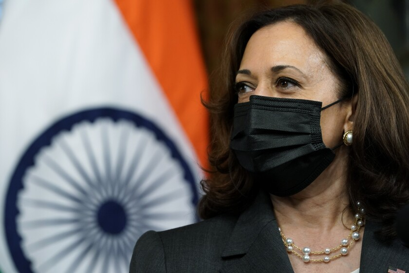 Vice President Kamala Harris meets with India's Prime Minister Narendra Modi, Thursday, Sept. 23, 2021, in Harris' ceremonial office in the Eisenhower Executive Office Building on the White House complex in Washington. (AP Photo/Jacquelyn Martin)