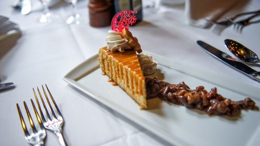 Pumpkin cheesecake is one of the dessert choices for Thanksgiving dinner at the always-crowded Rao's. Guests can choose traditional turkey or lasagna for the main course.