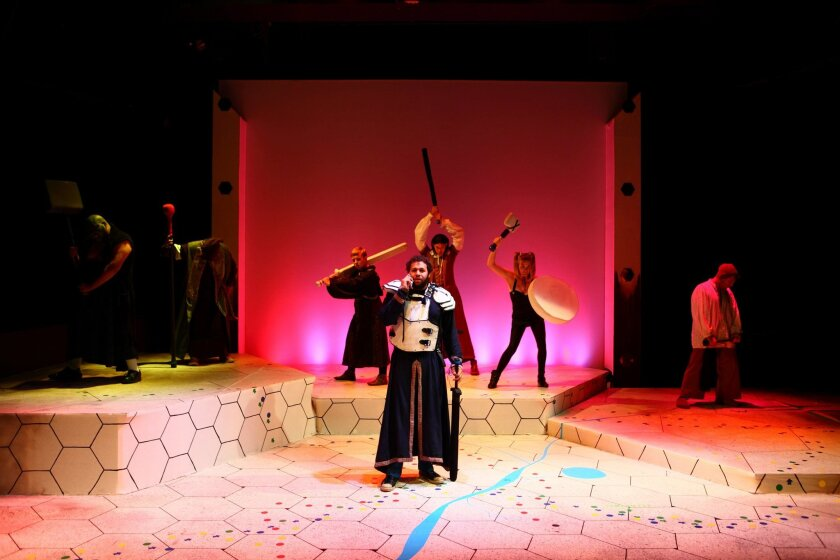 """Neil (Patrick Kelly, center) and his LARP-ing friends are called to battle in Circle Circle dot dot's production of """"Ragnarok."""""""