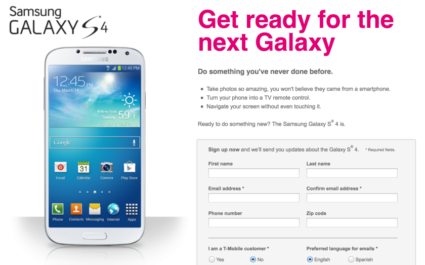 T-Mobile announced Wednesday that it will start selling the Samsung Galaxy S 4 online next week.