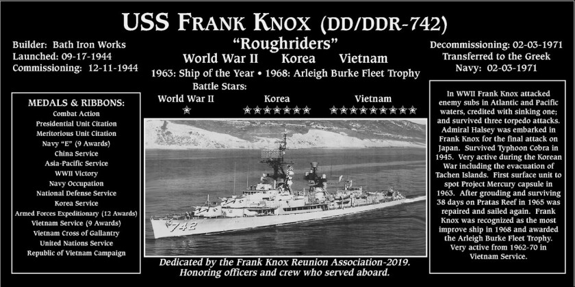 A plaque honoring the USS Frank Knox is at the Mount Soledad National Veterans Memorial in La Jolla.