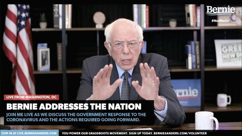 Democratic presidential candidate Sen. Bernie Sanders speaks Tuesday from Washington.