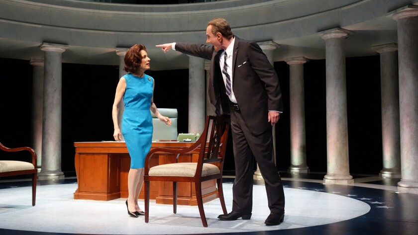 "Hugo Armstrong as Lyndon B. Johnson, Nike Doukas as Lady Bird in ""All the Way"" at South Coast Rep."