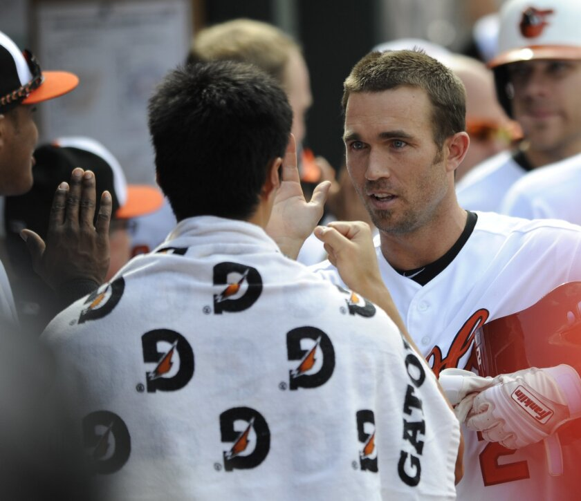 Baltimore Orioles' J.J. Hardy, right, is congratulated by teammate Wei Yin Chen after hitting a grand slam against the Minnesota Twins in the sixth inning of a baseball game, Sunday, Aug. 31, 2014, in Baltimore. The Orioles won 12-8. (AP Photo/Gail Burton)