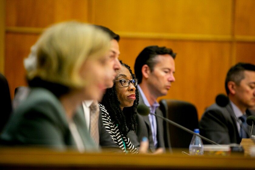 San Diego City Councilmember Monica Montgomery Steppe at a 2019 city council meeting