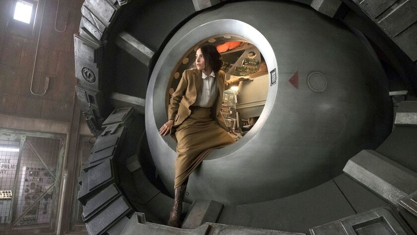 "Lucy (Abigail Spencer) travels back in time to WWI in the season premiere of the sci-fi drama ""Timeless"" on NBC."
