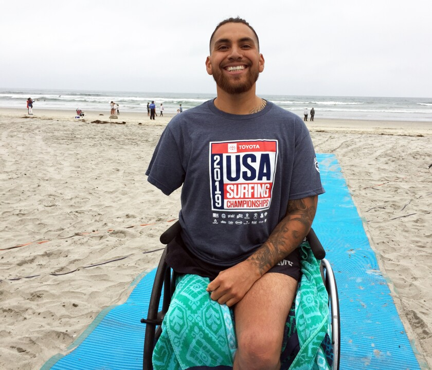 Jose Martinez at the USA Surfing adaptive surfing championship