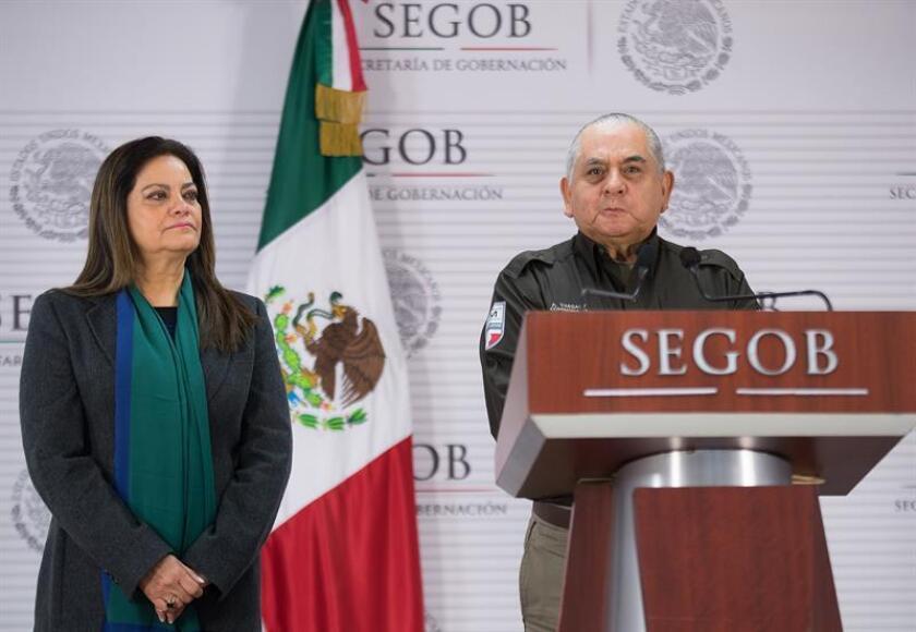 El comisionado del Instituto Nacional de Migración (INM), Ardelio Vargas Fosado (d), habla hoy, domingo 14 de enero de 2018, durante una rueda de prensa ofrecida en Ciudad de México (México). EFE/STR