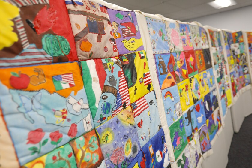 A quilt represents refugee or immigrant students at Hoover High School.