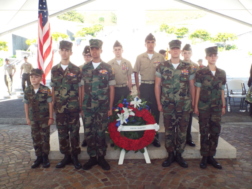 North San Diego Young Marines at the National Cemetery of the Pacific in Hawaii during the wreath laying ceremony Dec. 7.