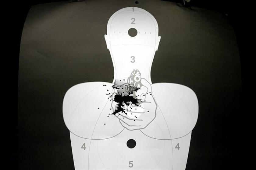 A view of a panel with bullet holes at a shooting club, in Sao Paulo, Brazil, 16 January 2019. The decree signed by Brazilian President Jair Bolsonaro to relax gun control laws in the country has stirred up doubts on its possible effects in the fight against violence which especially affects women. EPA-EFE/ Fernando Bizerra Jr.