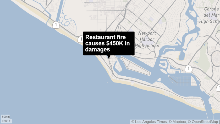 Newport Beach firefighters on Sunday responded to a restaurant where they took out a blaze that is estimated to have caused $450K in damages, officials said.