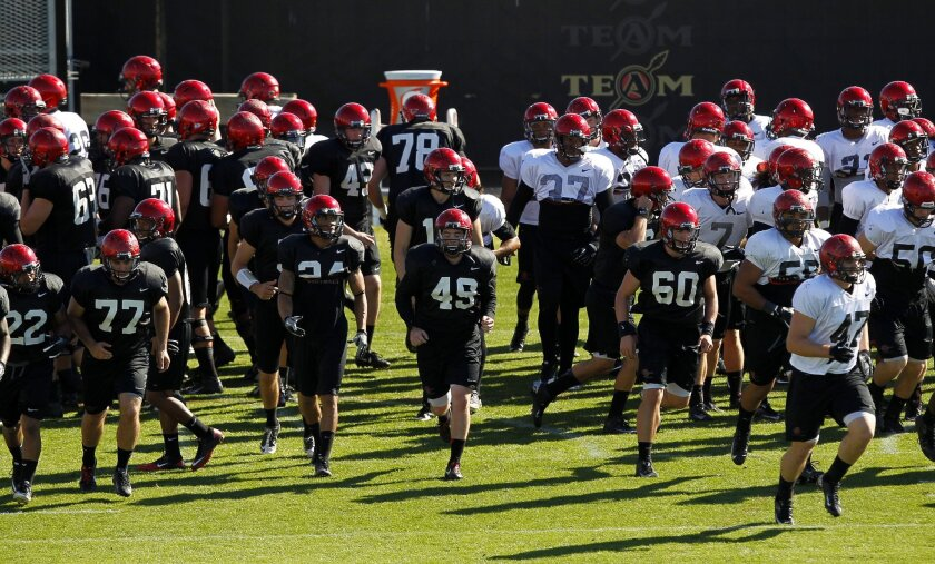 SDSU players run to their positions during spring football practice.