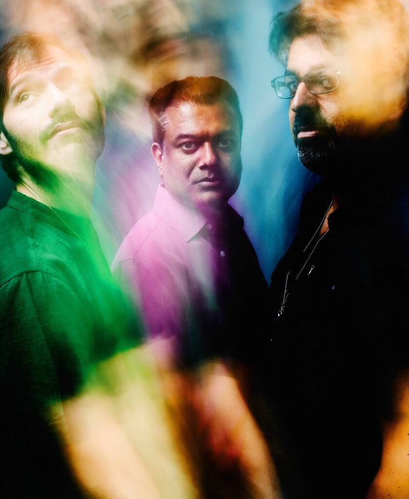 The members of the band Indo-Pak Coalition are, from left, drummer and percussionist Dan Weiss, saxophonist Rudresh Mahanthappa and guitarist Rez Abbasi.