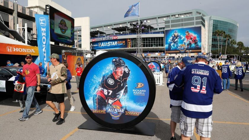 Fans attend the 2018 NHL All-Star skills competition at Amalie Arena on Saturday in Tampa, Fla.
