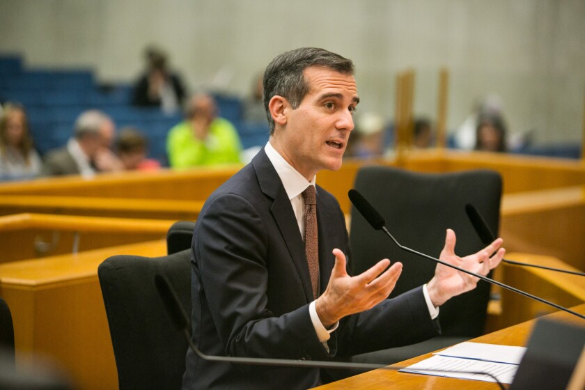 Los Angeles Mayor Eric Garcetti speaks during an LA County Board of Supervisors hearing on June 23 to discuss a plan to raise the minimum wage to $15-an-hour by 2020.