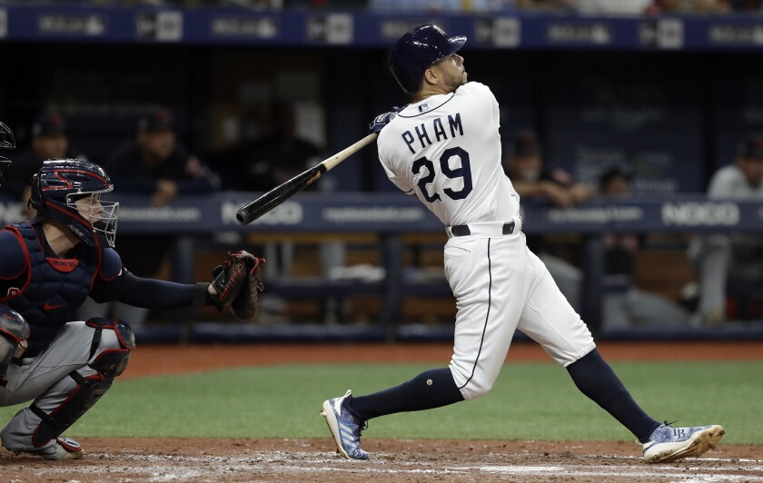 The Tampa Bay Rays' Tommy Pham watches his two-run home run against the Cleveland Indians.