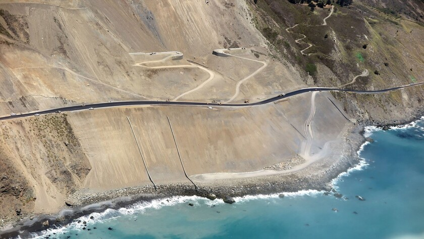 BIG SUR, CA JULY 10, 2018 -- Caltrans continues work on Highway One in the Mud Creek area, which is