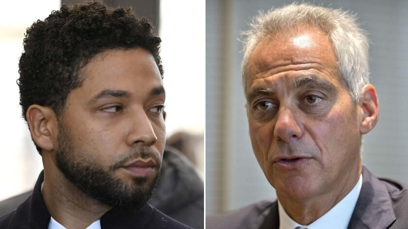 Actor Jussie Smollett looks on during a press conference before leaving Cook County Court after his