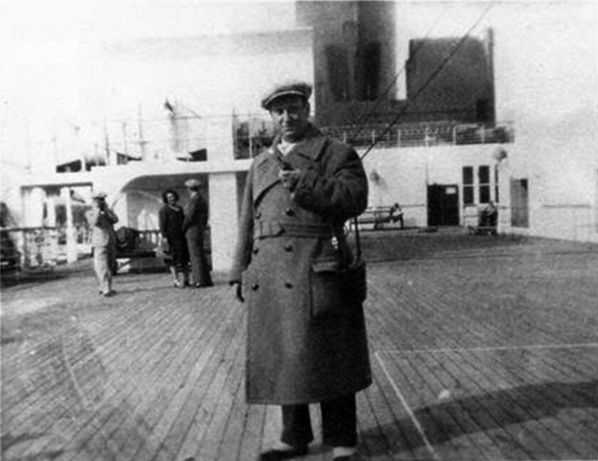 Max Ehrlich aboard a ship in 1937 on his way to or from New York.