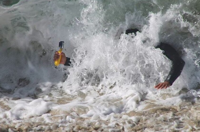 Trevor Davies of Poway used his GoPro camera to photograph the inside of the shore break Saturday at Windansea.