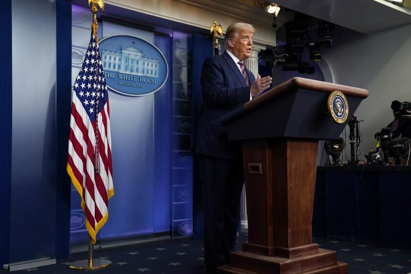 President Donald Trump speaks at the White House, Thursday, Nov. 5, 2020.