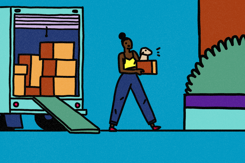 Illustration of a person moving in with a dog