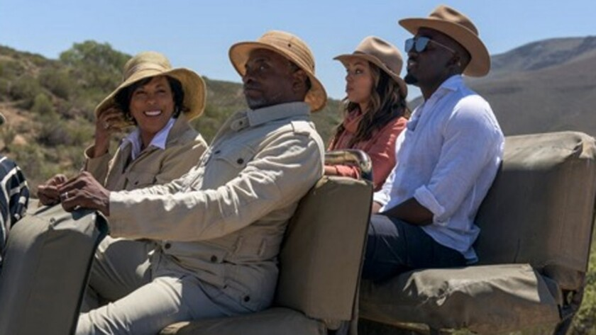 (L-R) - Keith David, Angela Gibbs, Shamier Anderson and Amber Stevens West in a scene from the movie