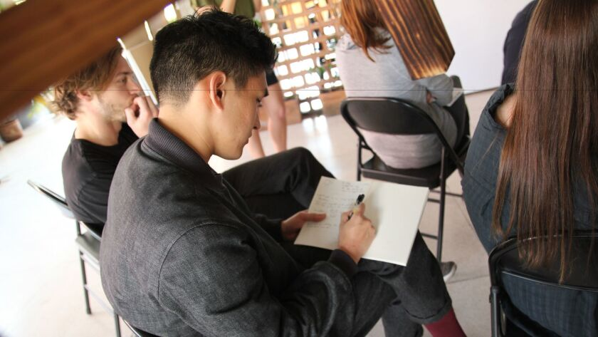 A student takes notes at a design studio held jointly by SCI-Arc and the Universidad Iberoamericana in Mexico City in 2017.