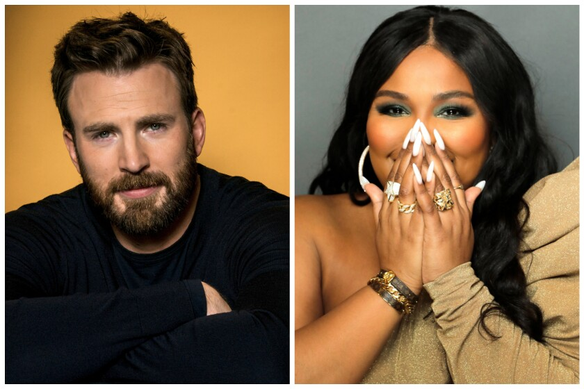Split portrait of actor Chris Evans, left, and singer Lizzo
