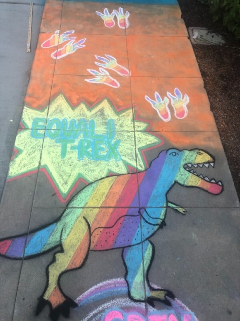 Amelia Leidy's sidewalk chalk projects for June include LGBTQ Pride themes featuring rainbows and this Equali-T-rex.