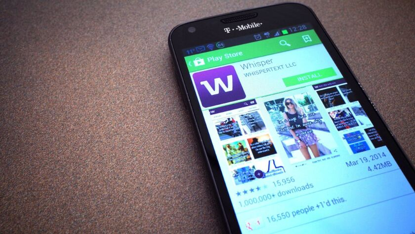 The anonymous social networking app Whisper, available at the Google Play Store.