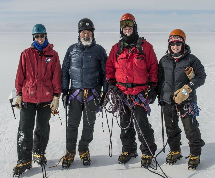 The G-439 team training for the Mount Erebus Ice Cave sampling including (from left to right) Anthony Rigoni, Hubert Staudigel, Brad Tebo and Laurie Connell (Alasdair Turner)