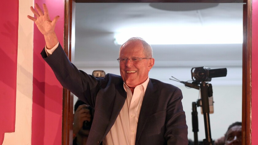 Peruvian presidential candidate Pedro Pablo Kuczynski, addressing supporters during a rally in Lima this week, won the election by 41,000 votes.