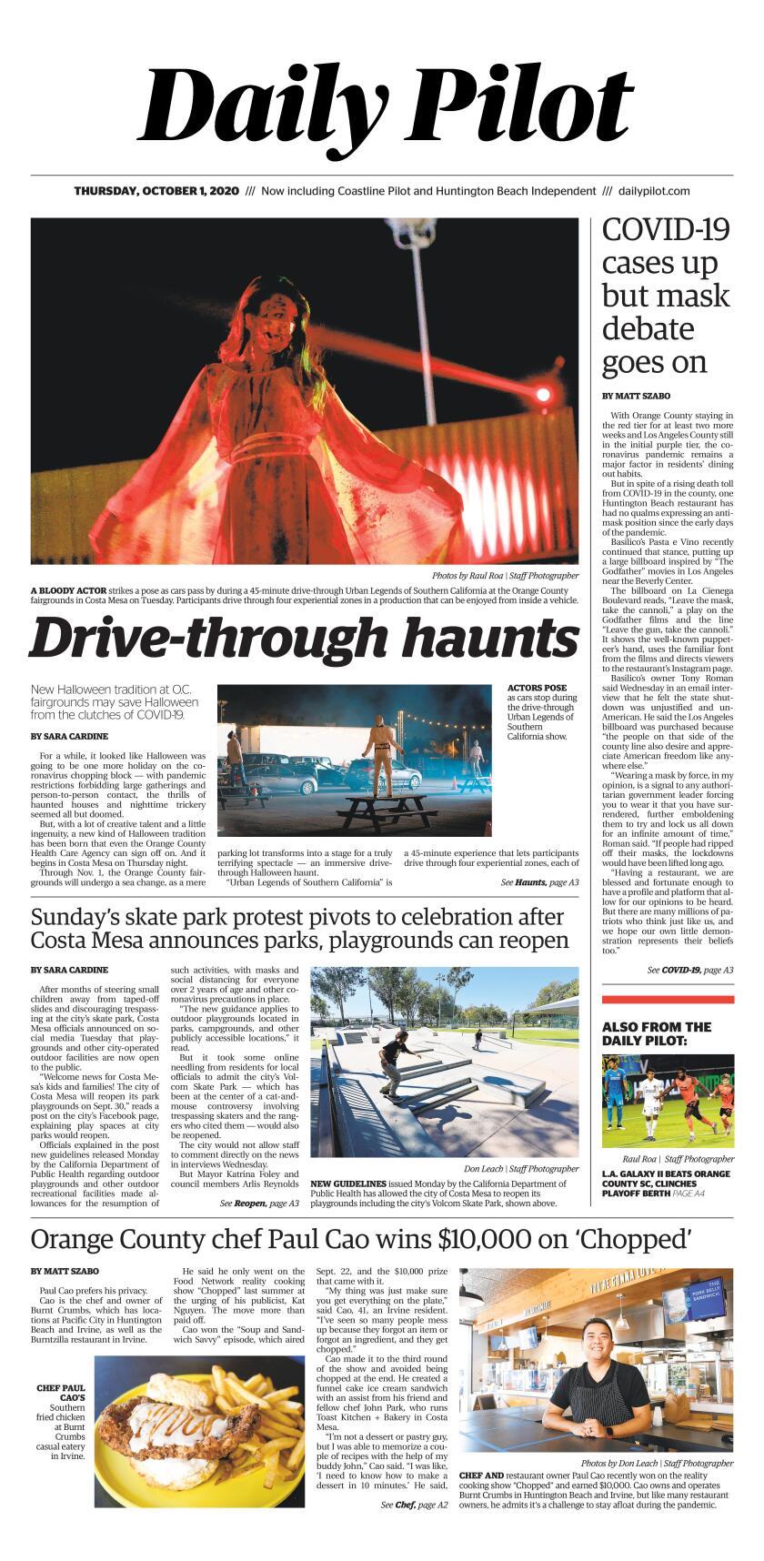 Thursday's Daily Pilot cover.