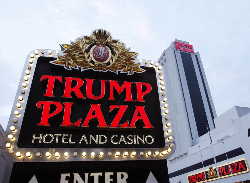 File-This Oct. 12, 2010 file photo shows the Trump Plaza Hotel Casino in Atlantic City, N.J. Atlantic City's mayor wants to demolish the former Trump Plaza Hotel & Casino. Mayor Marty Small said in a speech Thursday, Jan. 16, 2020, to a business group that knocking down the vacant casino once owned by President Donald Trump is one of his main goals for 2020. It is currently owned by billionaire Carl Icahn, who assumed ownership of Trump's former casino company from bankruptcy in 2016. (AP Photo/Mel Evans, File)