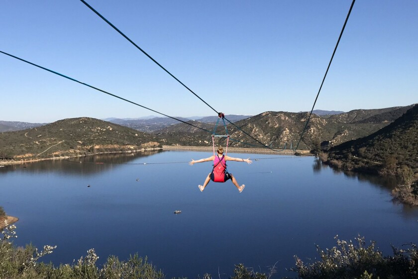 This altered image accompanied Poway Mayor's Steve Vaus' April Fool's Day posting about a zip line opening over Lake Poway.