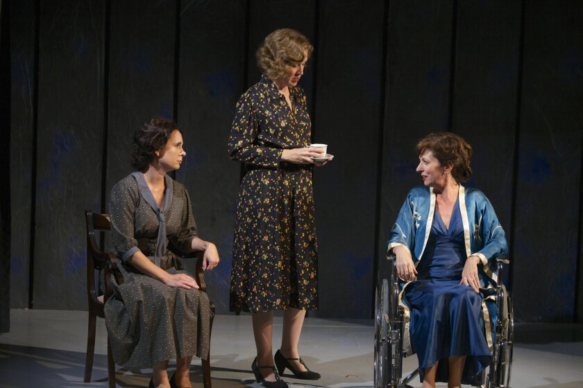 "Kerry McCue, Shana Wride and Elaine Rivkin (left to right) in the North Coast Repertory Theatre production of ""Broken Glass."""