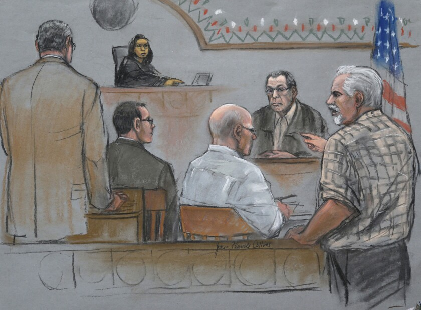 """This courtroom sketch depicts Steve Davis, right, brother of homicide victim Debra Davis, exploding in anger after Stephen """"The Rifleman"""" Flemmi, second from right, on the stand, identified him as a drug user and informant at U.S. District Court in Boston on Monday. Flemmi later said he'd made a mistake. He was testifying in the trial of his former partner James """"Whitey"""" Bulger, center."""