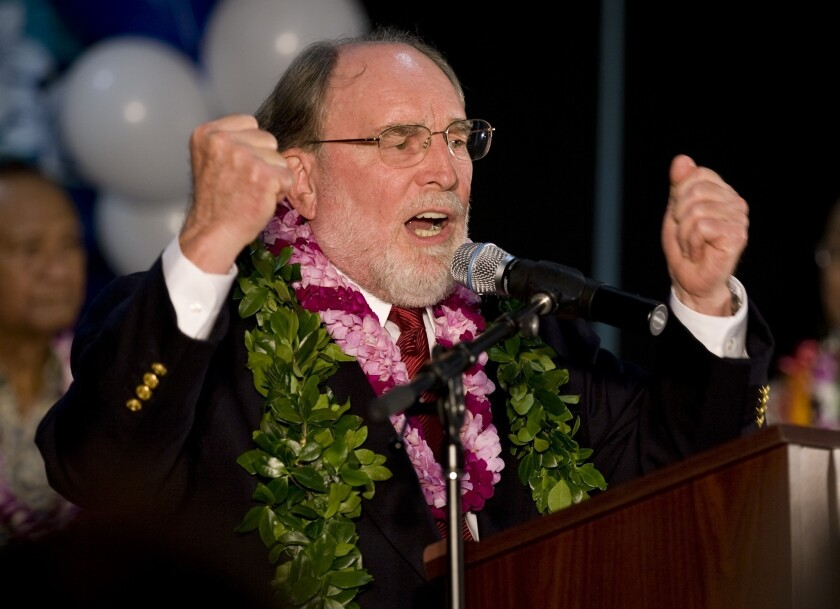 Hawaii Gov. Neil Abercrombie, shown addressing his supporters on election night 2010, disputes the oft-told story that he spurned the death-bed wishes of the late U.S. Sen. Daniel Inouye by appointing his lieutenant governor as Inouye's replacement.