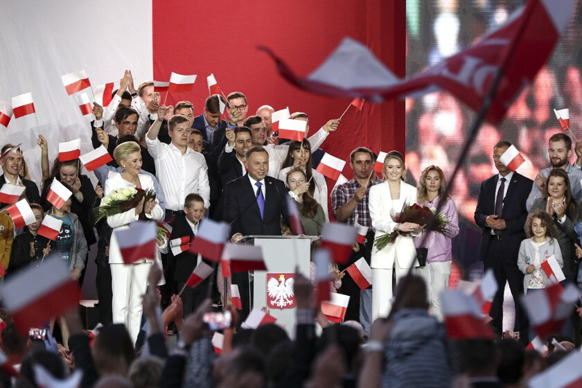 Incumbent President Andrzej Duda addresses supporters in Pultusk, Poland, on Sunday.