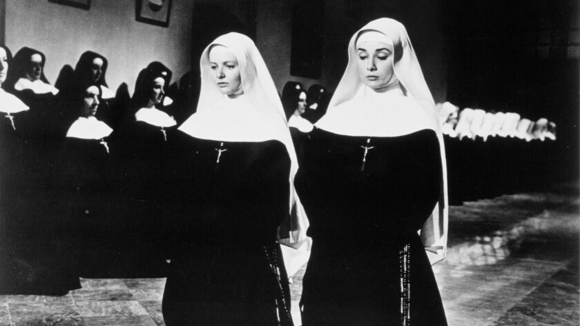 "Patricia Bosworth, left, with Audrey Hepburn in ""The Nun's Story."""