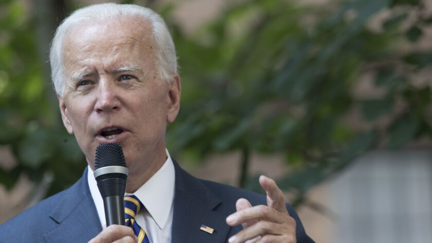 Former Vice President Joe Biden speaks after walking with members of Walking With The Wounded on Sept. 6.