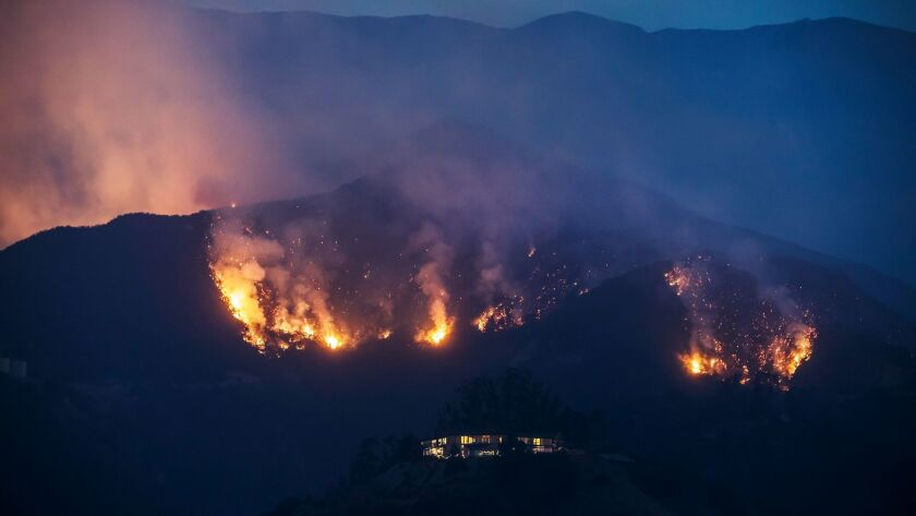 MONTECITO, CALIF. -- MONDAY, DECEMBER 11, 2017: The Thomas Fire make its way down the ridges threate