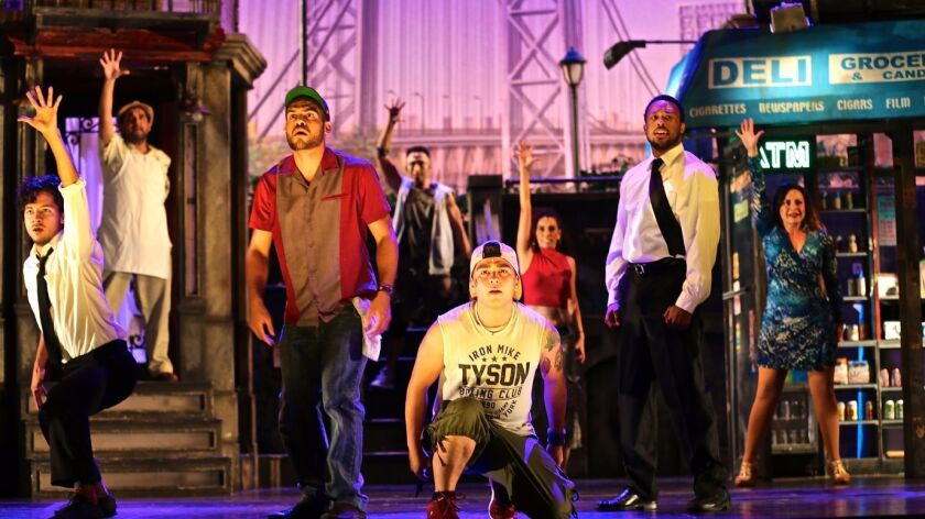 "The company of ""In the Heights"" at Moonlight Amphitheatre."