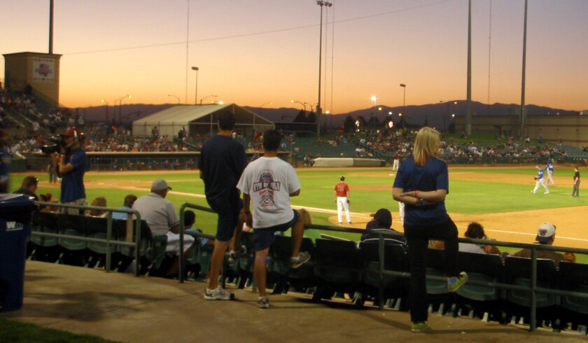 Baseball fans take in a game at the Hangar in Lancaster, home to the California League's JetHawks.