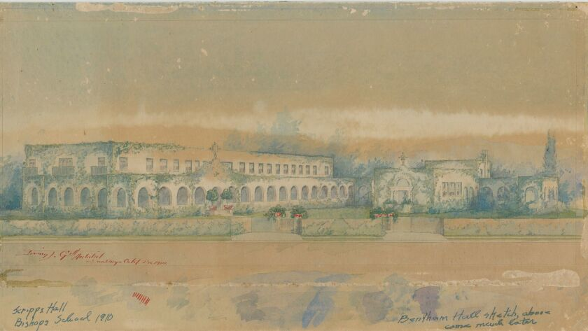 An early rendering of The Bishop's School's Scripps Hall and Bentham Hall